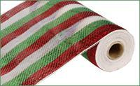 "10""X10YD STRIPE MESH Lime/Red/White RE1338K5 - DecoExchange"