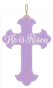 "16""H X 11""L He Is Risen Lavender/White AP8220"