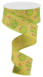 "1.5""X10Yd Cactus On Royal Mustard/Lt Grn/Pnk/Yllw RGA1637T6 - DecoExchange"