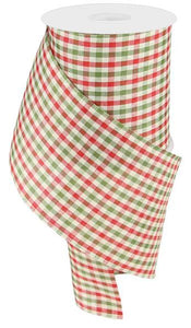 "4""X10Yd Primitive Gingham Check Red/Moss/Ivory RGA10412F"