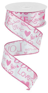 "1.5""X10YD LOVE FONT W/HEARTS WHITE/PINK RG169822"