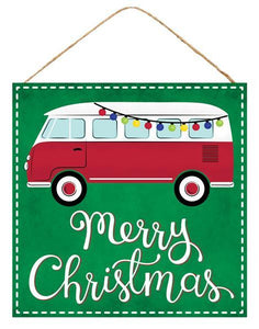"10""Sq Merry Christmas W/Vintage Bus Emerald/Red/White/Black AP7029 - DecoExchange"