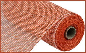 "10""X10Yd Multi Poly Burlap Mesh Orange/White RP815941 - DecoExchange"