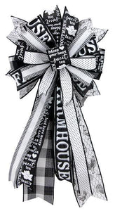 "26""L PREMADE BOW-DLX FARMHOUSE/ROOSTER BLACK/WHITE RB4409 - DecoExchange"