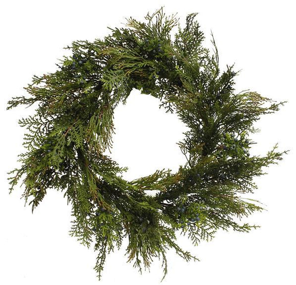 Faux Juniper Wreath | Holiday Wreath | Artificial Wreath | Front Door Wreath | Seasonal Wreath | Outdoor Wreath | Year Round Wreath - DecoExchange