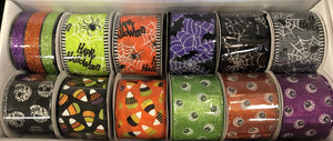 "12 rolls of 2.5""x10yrd wired halloween ribbon, assortment halloween ribbon, wreath ribbon"