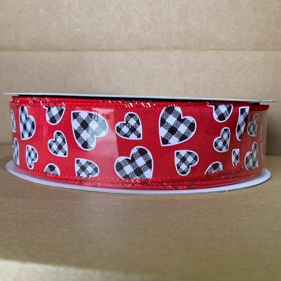 Red Stn/Blk-Wht Buff Chk Hearts, 1.5