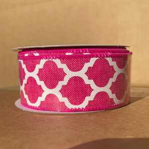 "Fuchsia Linen/Wht Big Lattice, 1.5""X10Y Q515209-28 - DecoExchange"