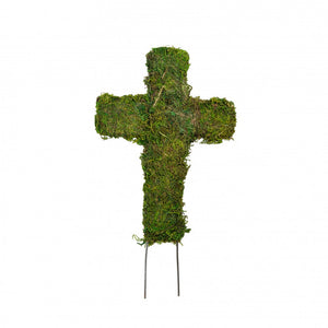 "8.5"" Green Sheet Moss Cross Stake KC1078"