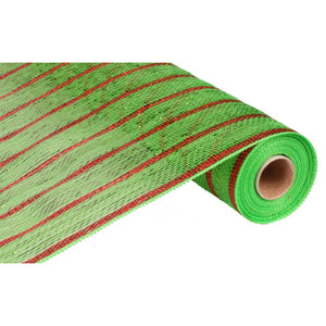 "21"" Poly Deco Mesh: Deluxe Lime/Red Stripe RE1033G2 - DecoExchange"