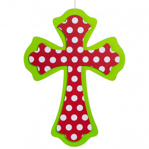 "14.5"" Scalloped Cross: Lime Green, Red, White Polka Dot AB237241"