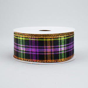 "1.5""X10Y Ribbon PURP-LIME-ORG METLC PLAID X635409-01"