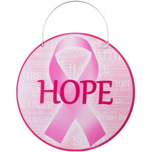 "12"" Round Metal Sign: Pink Support Ribbon Hope AP0128"