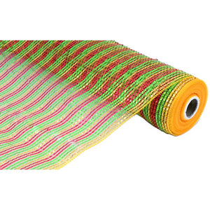 "21"" Poly Deco Mesh: Deluxe Wide Foil Lime/Red/Gold Stripe RE1047T9"