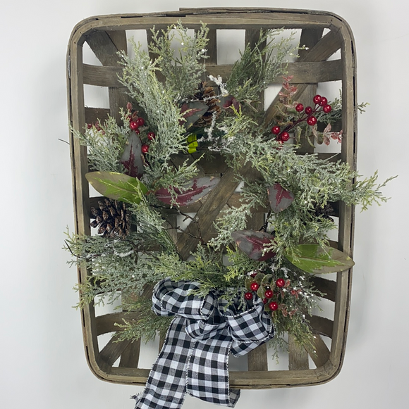 Wreath In Retangle Tobacco Basket L26Xw15Xh15 84978RE