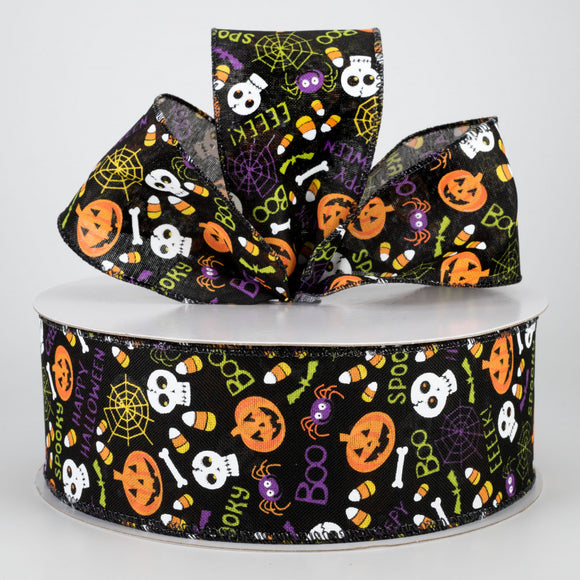 2.5X50Y Ribbon BLK LINEN/HALLOWEEN FUN X501940-701