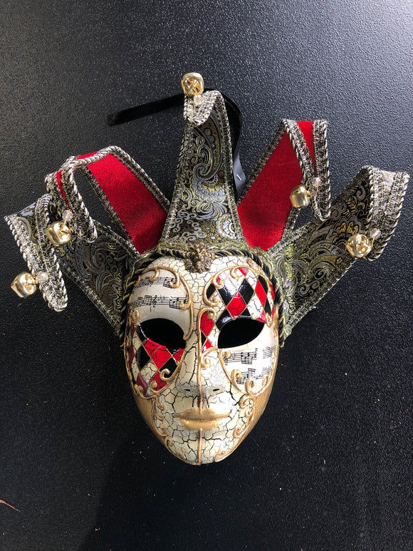 Mardi Gras Venetian Mask Red/Black/Gold 19832