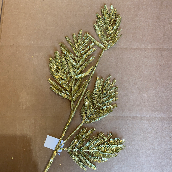 32 In Glitter Norfolk Pine 61952-GOLD - DecoExchange