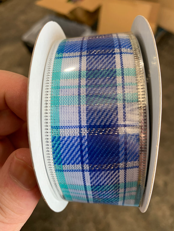 Winter Blues Plaid/Silver Edge, 1.5