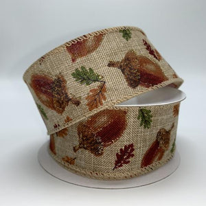 "1.5""X10Y Ribbon NAT LINEN/ACORNS-LEAVES X913609-15"