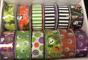 "12 rolls of 1.5""x10yrd wired halloween ribbon, assortment halloween ribbon, wreath ribbon"