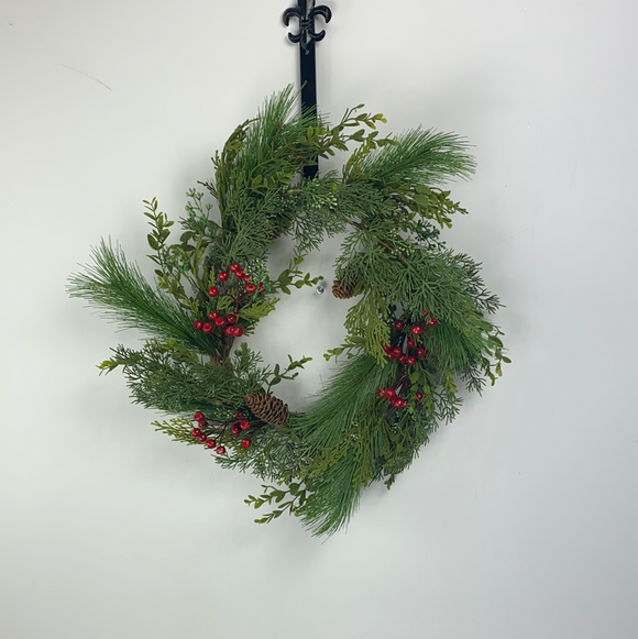 Berry Pinecone Mix Pine Wreath Dia24 84624WR24 - DecoExchange