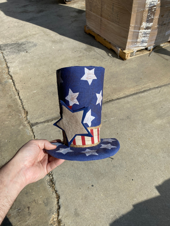 Burlap Star Stripe Top Hat D5xW9xH8 - DecoExchange
