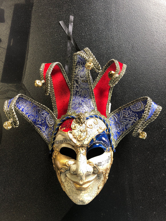 Mardi Gras Venetian Mask Red/Blue/Gold 19817