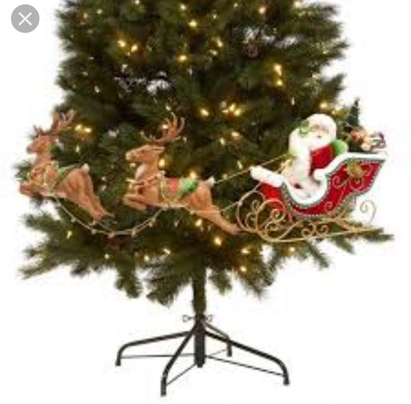 Santa Sleigh with 2 Deer Tree Display 28-828322 - DecoExchange