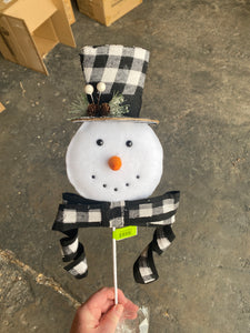 Snowman Head Flat W Bow Spray H26  84688GINGHAM