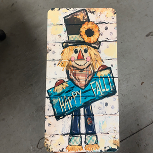 "12x6"" Scarecrow Happy Fall - Hand-Painted Image - Exclusive Metal Sign - Fall Sign - CH-001"