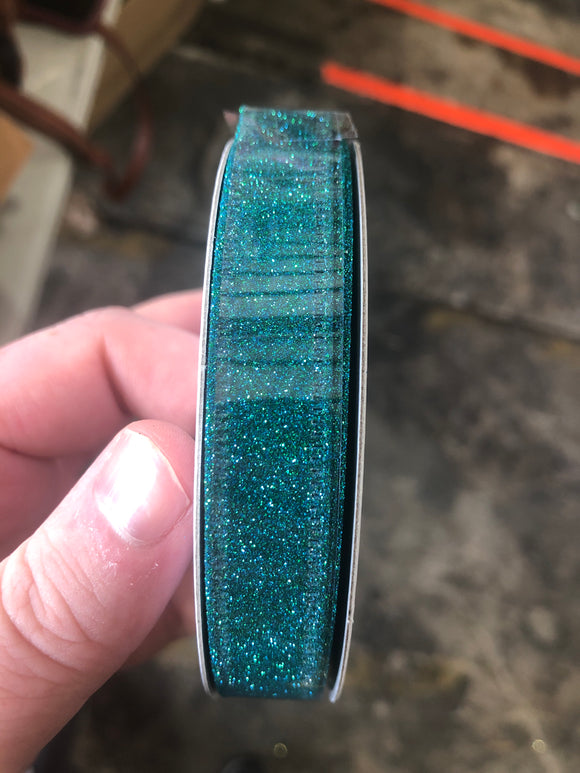 Peacock Glit Wired Glitter, 5/8