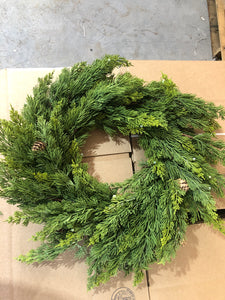 "Washed Cedar Wreath With Cone and Berry 25"" Sage XD452/24SG"