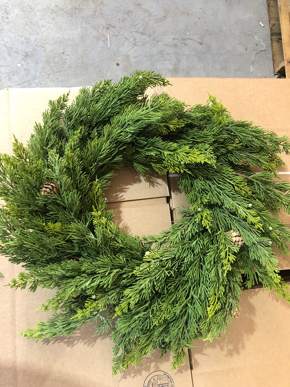 Washed Cedar Wreath With Cone and Berry 25
