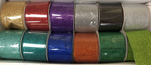 "12 rolls of 2.5""x10yrd wired glitter ribbon, Christmas ribbon, Wreath Ribbon. - DecoExchange"
