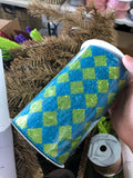 "6"" x 10yd Glitter Diamond Check Turquoise/Lime RM9518EA"