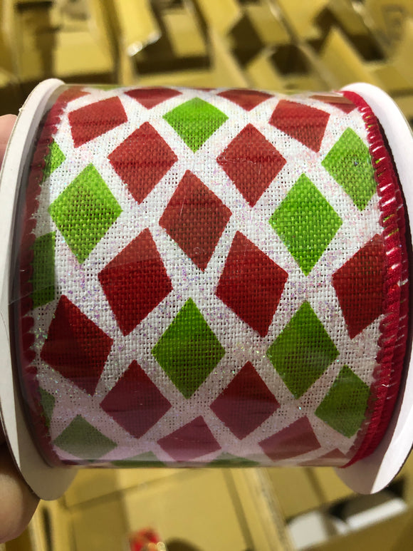 2.5X10Y Ribbon WHT IRID/RED-LIME DIAMONDS X920240-12 - DecoExchange