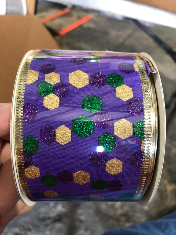 Purp Stn/Grn-Gld Hexagons, 2.5