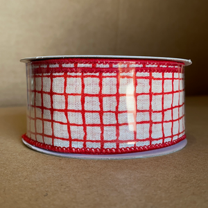 "Ivory Linen/Red Lined Chex, 1.5""X10Y 41129-09-13 - DecoExchange"