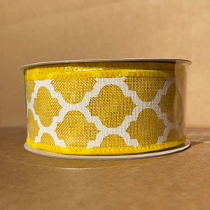 "Yellow Linen/Wht Big Lattice, 1.5""X10Y Q515209-02 - DecoExchange"