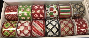"12 rolls of 2.5""x10yrd wired Christmas ribbon, assortment Christmas ribbon, wreath ribbon"