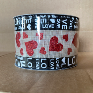 "Nat Linen/Blk Edged Love-Hrts, 2.5""X10Y 15101-40-15 - DecoExchange"