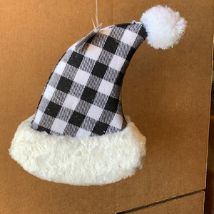 9 In Plaid Xmas Hat Hanging 62099-WTBK - DecoExchange