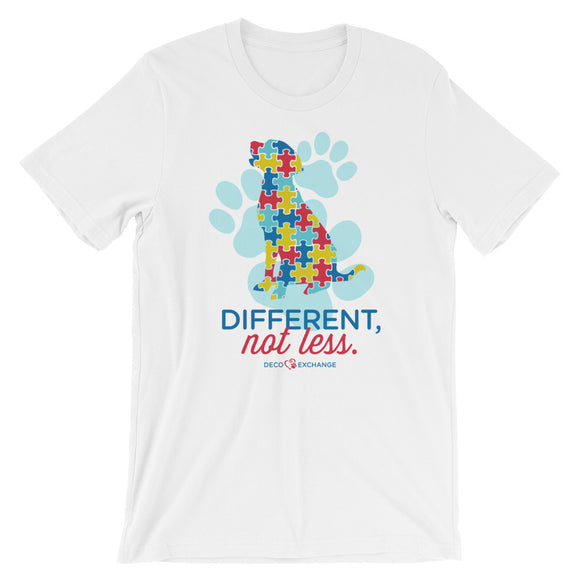 Different Not less Autism - Light Colors - Short-Sleeve Unisex T-Shirt - DecoExchange Autism Awareness - DecoExchange