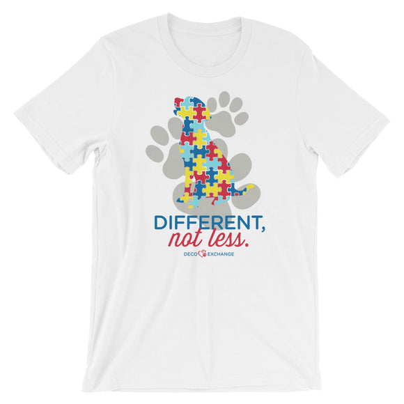 Different Not less Autism - Light Colors (1) - Short-Sleeve Unisex T-Shirt - DecoExchange Autism Awareness - DecoExchange