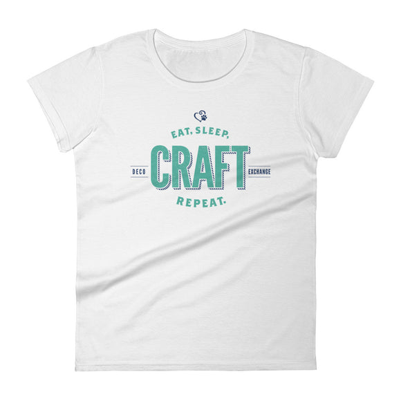 Teal on Light Colors - Eat Sleep Craft - Women's short sleeve t-shirt - DecoExchange - DecoExchange