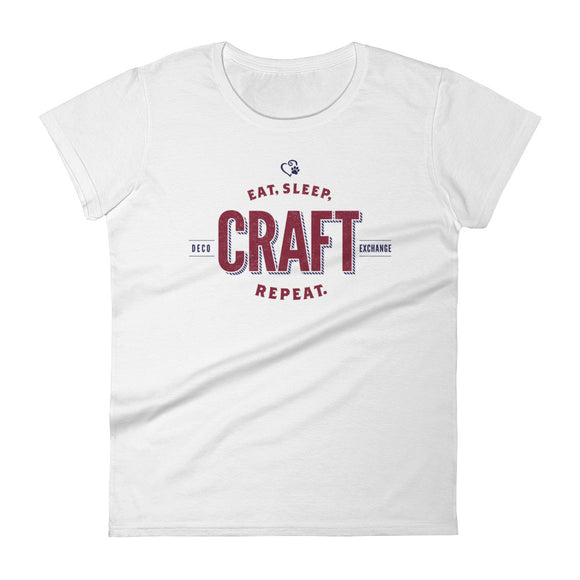 Raspberry on Light Colors - Eat Sleep Craft - Women's short sleeve t-shirt - DecoExchange - DecoExchange