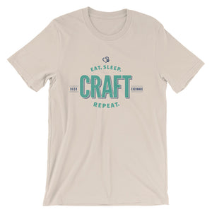 Teal on Cream - Eat Sleep Craft - Short Sleeve - DecoExchange - DecoExchange