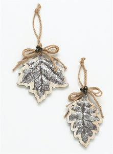 "Leaves Ornament - 2 Assorted - 5.5"",5.75""H Si OR9114 - DecoExchange"