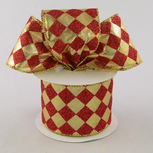 "6"" x 10yd Glitter Diamond Check Red/Gold RM951830"